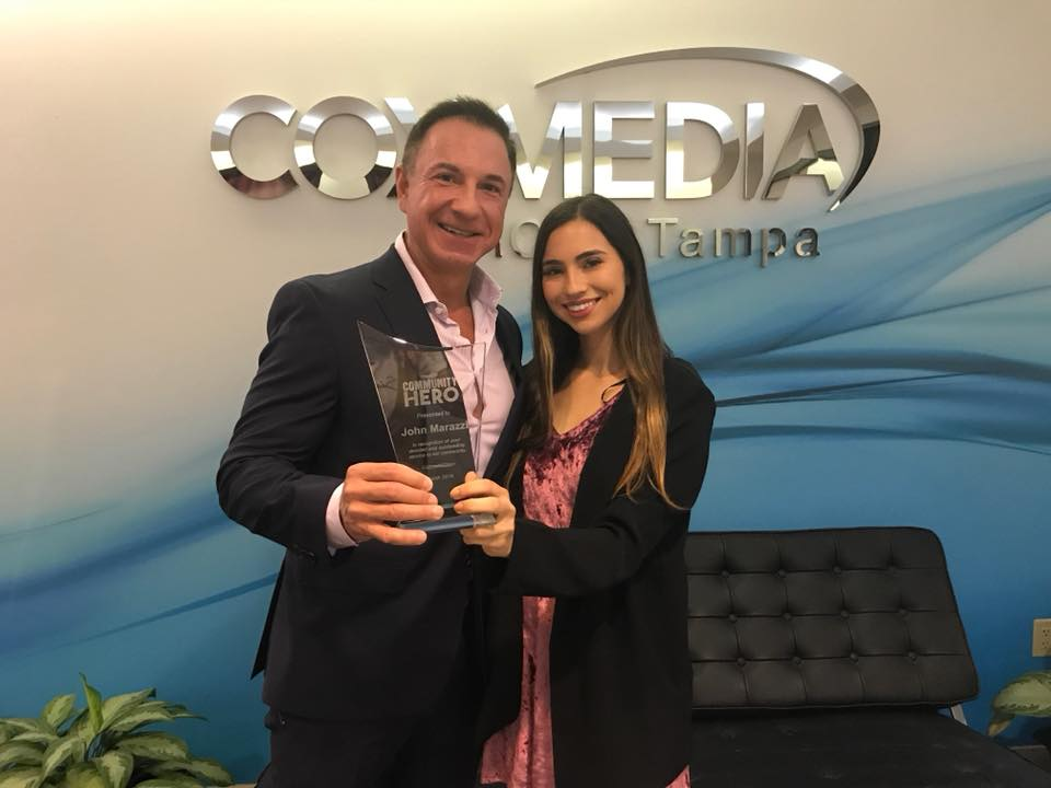 John and Marissa Marazzi accept Cox Community Hero award for April 2018