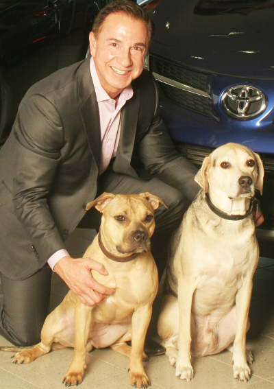 John Marazzi with rescue dogs Athena and Zeus